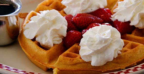 Littleton Diner Waffles with Strawberries & Whipped Cream